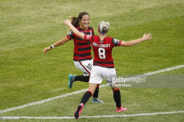 Wanderers Paige Nielsen celebrates after scoring with teammate Erica Halloway during the round three WLeague match between the Western Sydney...
