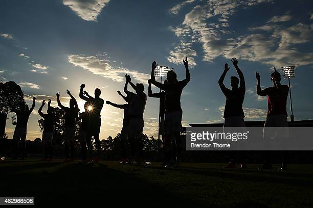 Wanderers players celebrate with fans at full time following the round 16 ALeague match between the Western Sydney Wanderers and the Wellington...