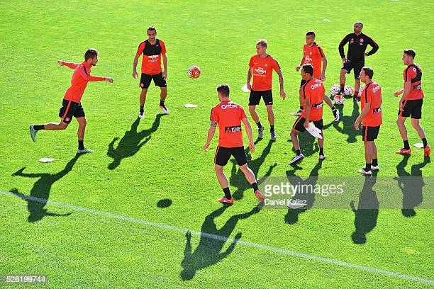 Wanderers players warm up during a Western Sydney Wanderers ALeague training session at Coopers Stadium on April 30 2016 in Adelaide Australia