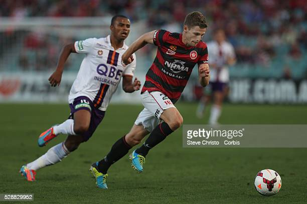 Wanderers Shannon Cole in action against Perth Glory's Sidnei Scola Moraes during the match at Parramatta Stadium Sydney Australia Sunday 26th...