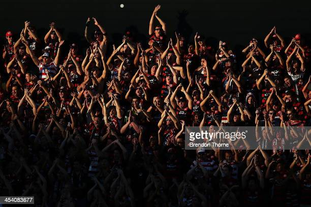 Wanderers supporters show their colours during the round nine ALeague match between the Western Sydney Wanderers and the Melbourne Heart at...