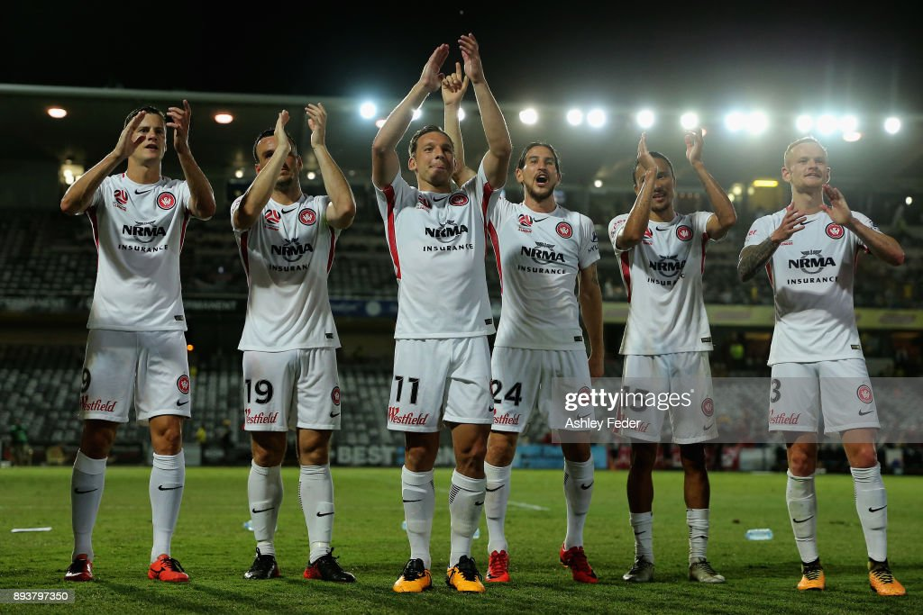 Wanderers team mates celebrate the win during the round 11 A-League match between the Central Coast and the Western Sydney Wanderers at Central Coast Stadium on December 16, 2017 in Gosford, Australia.