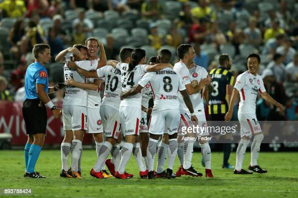 Wanderers team mates celerbate a goal from Alvaro Cejudo of the Wanderers during the round 11 ALeague match between the Central Coast and the Western...