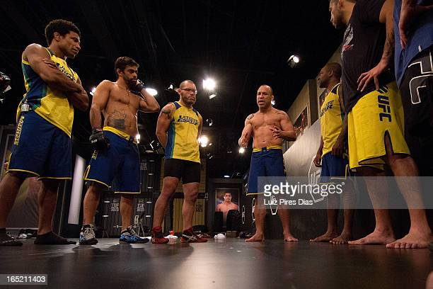 Wanderlei Silva addresses Team Werdum before a training session during filming of season two of The Ultimate Fighter Brazil on January 27 2013 in Sao...