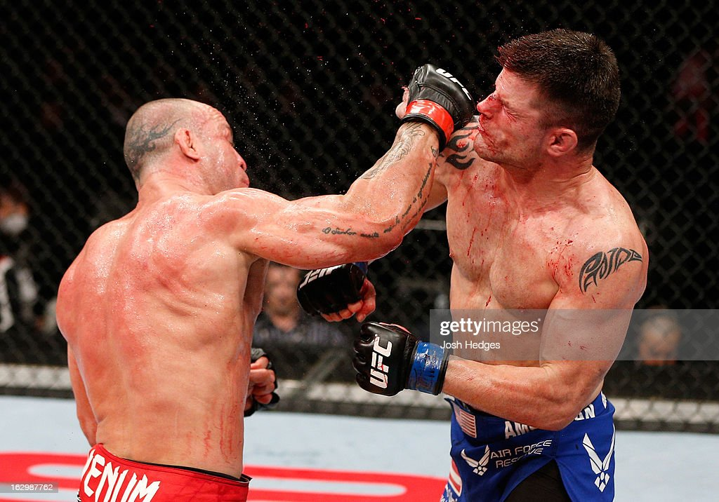 Wanderlei Silva defeats Brian Stann by knockout in their light heavyweight fight during the UFC on FUEL TV event at Saitama Super Arena on March 3, 2013 in Saitama, Japan.