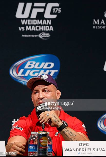 Wanderlei Silva of Brazil interacts with fans and media during the UFC press conference at the MGM Grand Garden Arena on May 23 2014 in Las Vegas...