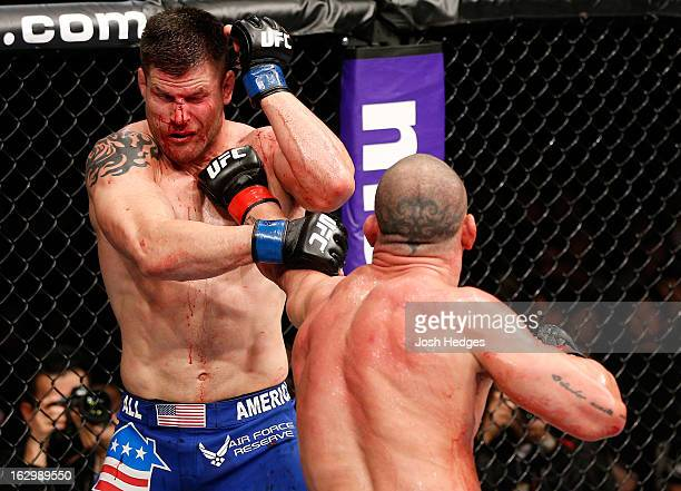 Wanderlei Silva punches Brian Stann in their light heavyweight fight during the UFC on FUEL TV event at Saitama Super Arena on March 3 2013 in...