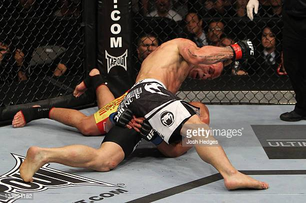 Wanderlei Silva punches Cung Le during the UFC 139 event at the HP Pavilion on November 19 2011 in San Jose California
