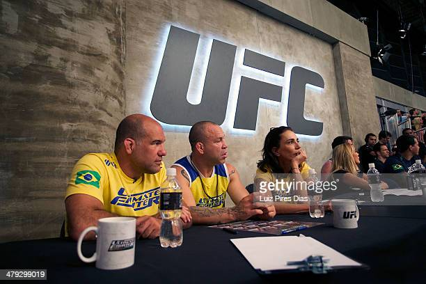 Wanderlei Silva sits with his coaching staff during the elimination fight between Pedro Paulino and Ismael De Jesusfor season three of The Ultimate...