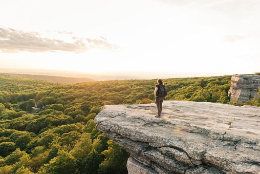 Wanderlust Adventure Hiking Woman Enjoys Sunset Catskills Mountain View NY 609049602