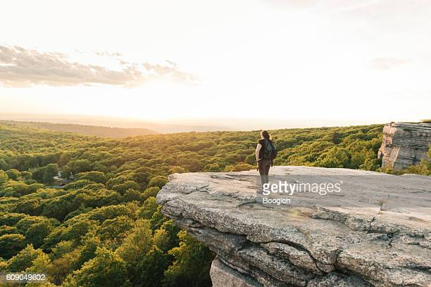 Wanderlust Adventure Hiking Woman Enjoys Sunset Catskills Mountain View NY