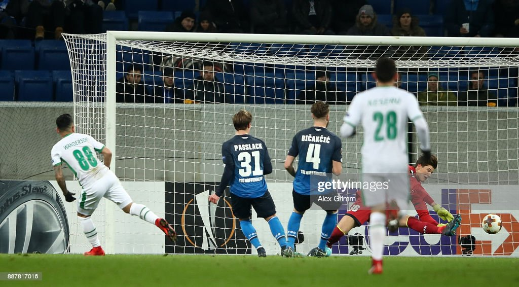 Wanderson of PFC Ludogorets Razgrad scores his team's first goal of the game during the UEFA Europa League group C match between 1899 Hoffenheim and PFC Ludogorets Razgrad at Wirsol Rhein-Neckar-Arena on December 7, 2017 in Sinsheim, Germany.