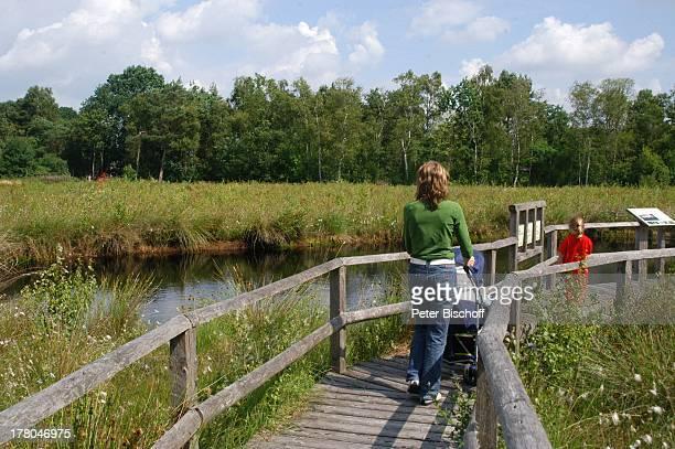 Wanderweg am Moorsee im Naturschutzgebiet Huvenhoopsmoor, Landkreis Rotenburg / Wümme, Niedersachsen, Deutschland, Europa, Moor, Natur, Reise,