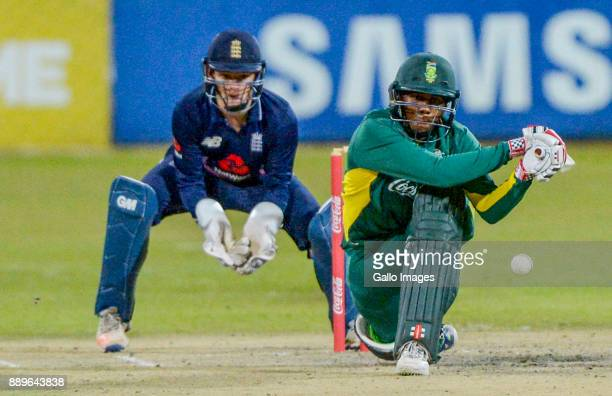 Wandile Makwethu of South Africa during the U/19 Tri Series Final match between South Africa and England at Senwes Park on December 10 2017 in...