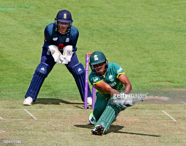 Kgaudise Molefe is run out during the 1st ODI between England U19 and South Africa U19 at Emirates Riverside on July 23 2018 in ChesterleStreet...