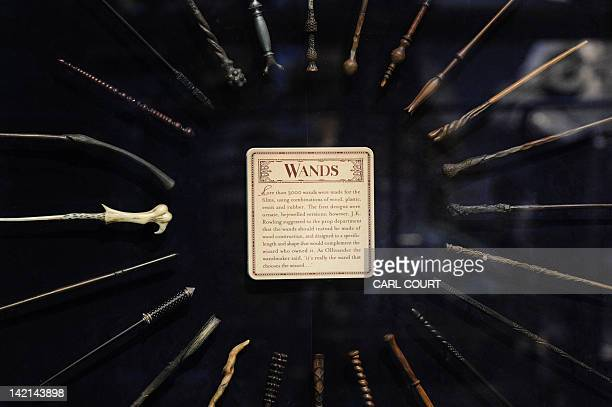 Wands are displayed during a preview of the Warner Bros Harry Potter studio tour 'The Making of Harry Potter' in north London on March 26 2012 'The...