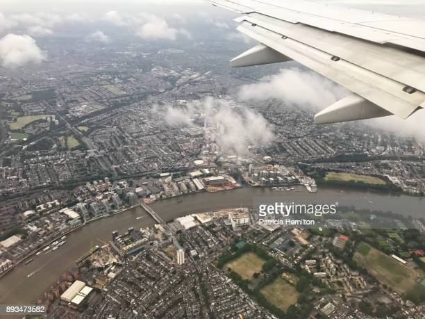 Wandsworth Bridge on the Thames River, London, aerial view