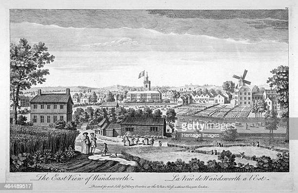 Wandsworth London c1750 East view of Wandsworth including a windmill figures and cattle