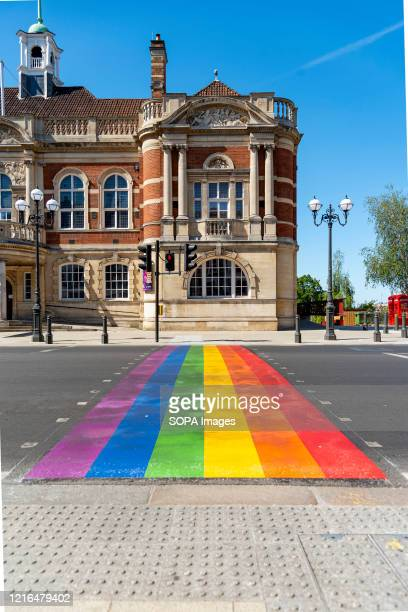 Wandsworth unveiled its first permanent rainbow crossing to show support for the borough's LGTBQ+ community outside the iconic Battersea Arts Centre...