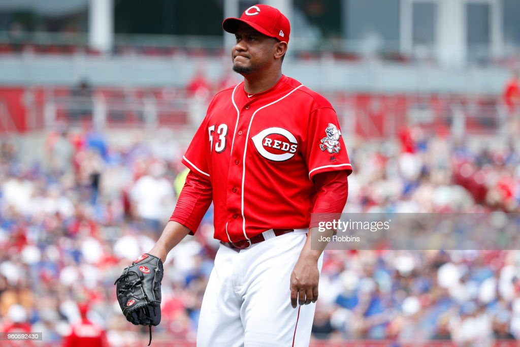 Wandy Peralta #53 of the Cincinnati Reds reacts after being taken out of the game against the Chicago Cubs in the seventh inning at Great American Ball Park on May 20, 2018 in Cincinnati, Ohio. The Cubs won 6-1.