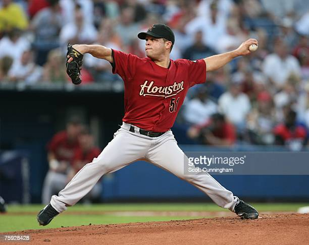 Wandy Rodriguez of the Houston Astros pitches against the Atlanta Braves at Turner Field on August 1 2007 in Atlanta Georgia The Braves defeated the...