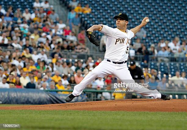 Wandy Rodriguez of the Pittsburgh Pirates pitches against the St Louis Cardinals during the game on August 29 2012 at PNC Park in Pittsburgh...