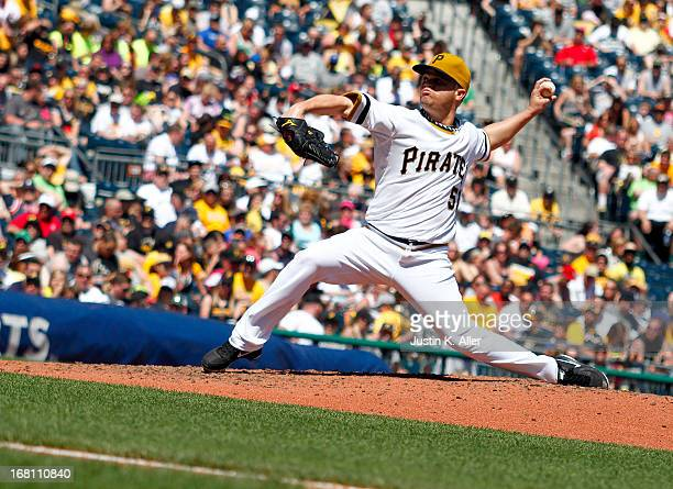 Wandy Rodriguez of the Pittsburgh Pirates pitches against the Washington Nationals during the game on May 5 2013 at PNC Park in Pittsburgh...