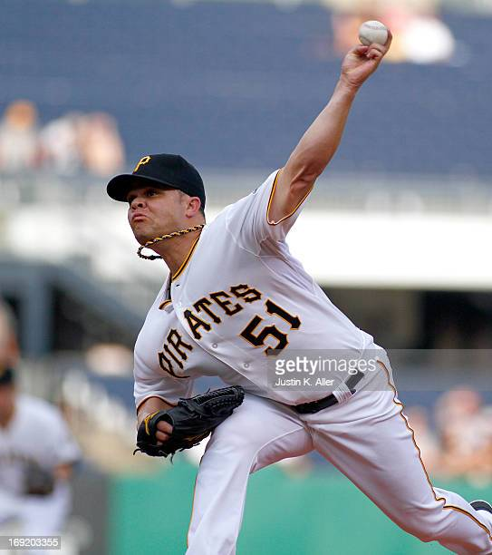 Wandy Rodriguez of the Pittsburgh Pirates pitches in the first inning against the Chicago Cubs during the game on May 21 2013 at PNC Park in...
