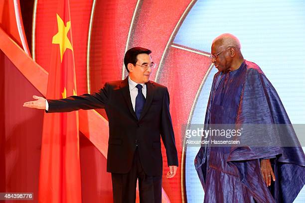 Wang Anshun Lord Mayor of Beijing and President of the World Championships Beijing 2015 Local Organising Committee attends with IAAF President Lamine...