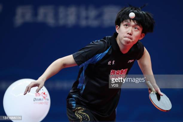 Wang Chuqin of Beijing competes in the Men's Table Tennis Group Final Match against Guangdong during China's 14th National Games at Yan'an University...