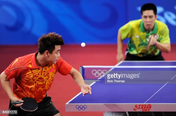 Wang Hao of China plays a shot in the Quarter Final of the Men's Singles Table Tennis event against Ko Lai Chak of Hong Kong China held at the Peking...
