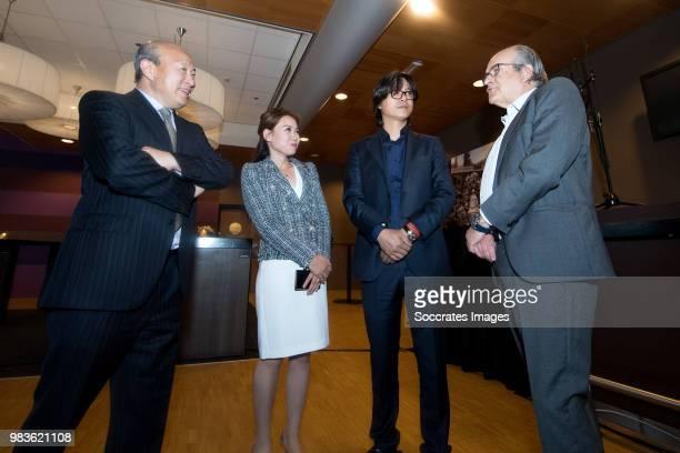 Wang Hui of United Vansen, Quancheng Zhang, Ad Melkert of ADO Den Haag during the Contract Signing Yuning Zhang of ADO Den Haag at the Cars Jeans...