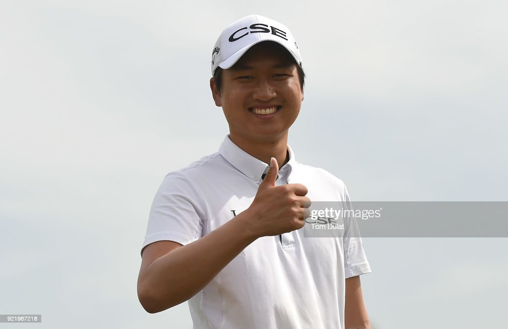 Wang Jeung-hun smiles prior to the Commercial Bank Qatar Masters at Doha Golf Club on February 21, 2018 in Doha, Qatar.