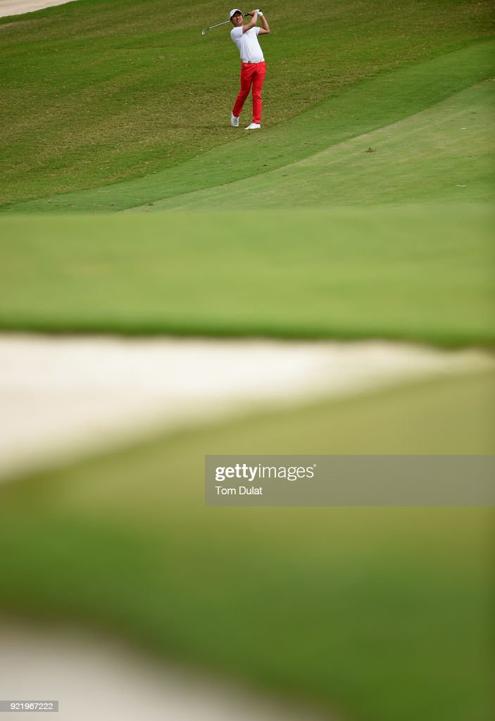 Wang Jeung-hun takes a shot from the 7th fairway prior to the Commercial Bank Qatar Masters at Doha Golf Club on February 21, 2018 in Doha, Qatar.