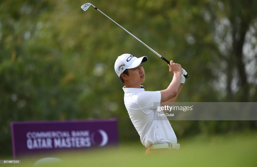 Wang Jeung-hun tees off from the 8th hole prior to the Commercial Bank Qatar Masters at Doha Golf Club on February 21, 2018 in Doha, Qatar.