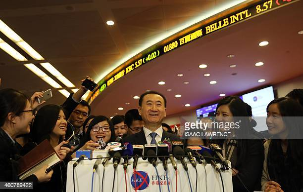 Wang Jianlin, CEO of Dalian Wanda Commercial Properties Co. Speaks at a press conference during the company's IPO at the Hong Kong stock exchange on...