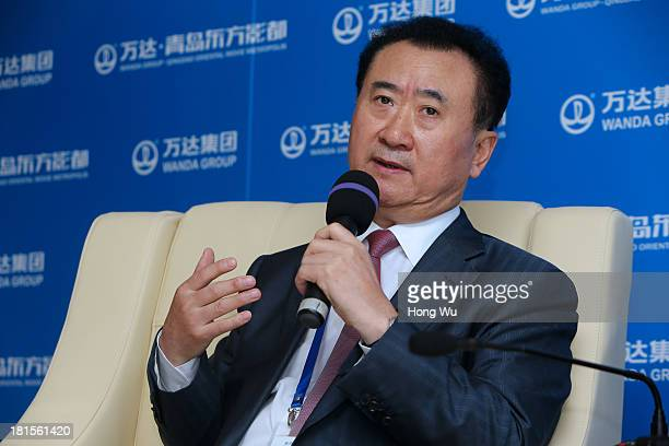 Wang Jianlin chairman of Chinese property developer Wanda Group answers a question during a interview for the Qingdao Oriental Movie Metropolis on...
