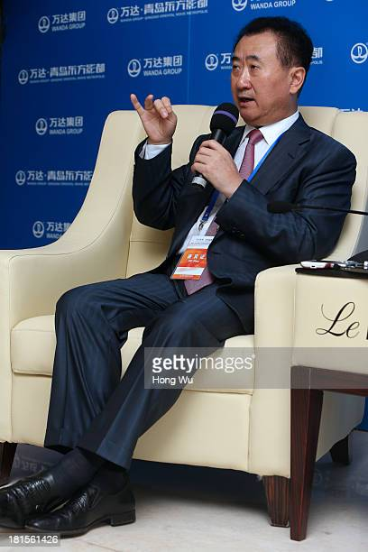 Wang Jianlin, chairman of Chinese property developer Wanda Group, answers a question during a interview for the Qingdao Oriental Movie Metropolis on...