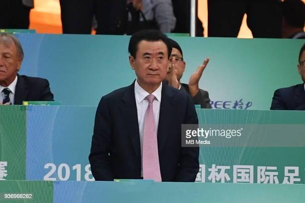 Wang Jianlin, Chairman of Dalian Wanda Group, watches the semi-final match between Wales national football team and Chinese national men's football...