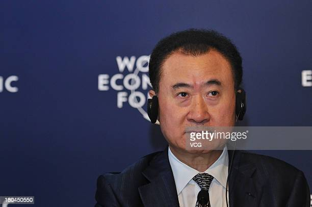 Wang Jianlin, Chairman of the Dalian Wanda Group, speaks during a session at the World Economic Forum Annual Meeting of the New Champions at Dalian...