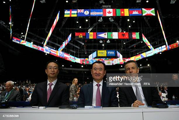 Wang Jianlin , Chairman of Wanda Group and Philippe Blatter , President and CEO of Infront Sports and Media AG pose during the 65th FIFA Congress at...