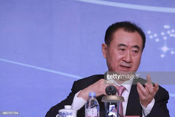 Wang Jianlin, Chairman of Wanda Group, attends press conference of Golbal Premiere of Han Show and Grand Opening of the Wanda Movie Park on December...