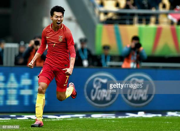 Wang Jingbin of China celebrates after scoring during the 2017 Gree China Cup International Football Championship thirdplace match against Croatia at...