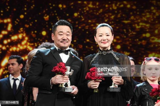 Wang Jingchun winner of the Silver Bear for Best Actor for So long My Son and Yong Mei winner of Silver Bear for Best Actress for So long My Son are...