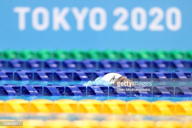 Wang Lichao of Team China competes in the Men's 100m Freestyle - S5 final on day 2 of the Tokyo 2020 Paralympic Games at the Tokyo Aquatics Centre on...