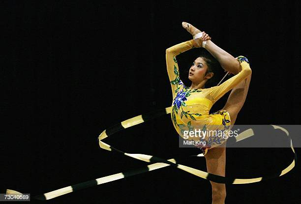 Wang Lijia of China competes during the Women's Group AllAround Final during the Rhythmic Gymnastics competition of the Australian Youth Olympic...