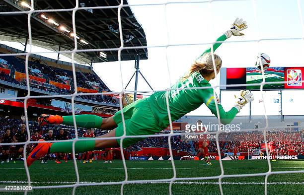 Wang Lisi of China PR scores their first goal on a penalty kick against goalkeeper Erin Nayler of New Zealand during the FIFA Women's World Cup...