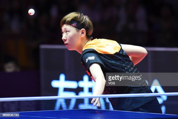 Wang Manyu of China competes during women's singles final match against Ding Ning of China on day four of the 2018 ITTF World Tour China Open at...