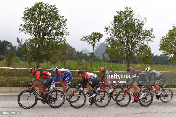 Wang Meiyin of China and Team Bahrain-Merida / Bruno Armirail of France and Team Groupama-FDJ / Tosh Van Der Sande of Belgium and Team Lotto Soudal /...