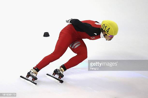 Wang Meng of China competes in the Women's 500m PrePreliminaries during day one of the 2013/14 Samsung ISU World Cup Short Track at the Oriental...